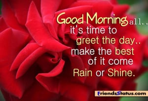 Fb morning status – Time to greet the day