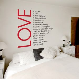 "decided to get the ""Love is Patient Wall Quote Decal"""