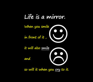 ... Life Lessons: Life Is A Mirror Quote With Emoticons Picture In Black