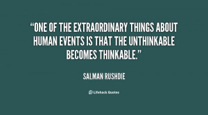 One of the extraordinary things about human events is that the ...