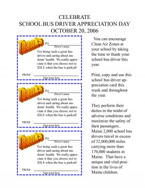 CELEBRATE SCHOOL BUS DRIVER APPRECIATION DAY OCTOBER 20, 2006
