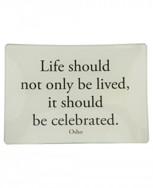 Inspirational Glass Trinket Tray with Osho Quote