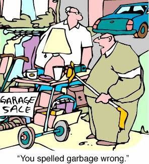 Funny Garage Garbage Sale Cartoon Joke Picture