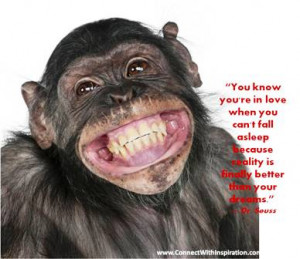 You know you are in Love quote, Inspirational, Monkey smiling