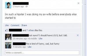 Hipster ex-husband Funny Quote Picture