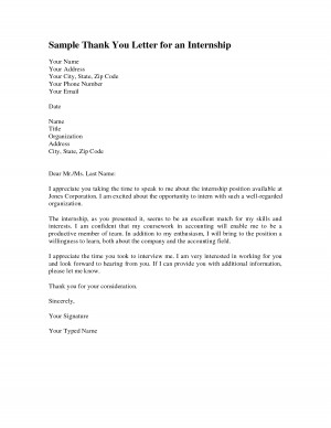 Sample Thank You Letter for an Internship
