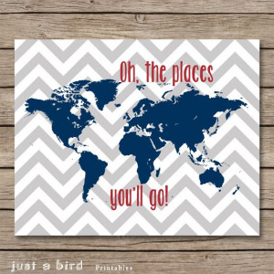 Oh the places you will go - Dr Seuss quote, baby boy nursery, world ...