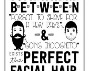 Funny Facial Hair Typographic Print. Mustache & Beard Quote Art. Black ...