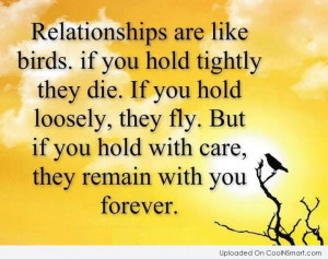 Relationship Quote: Relationships are like birds. If you hold...
