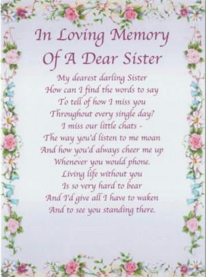 In Loving Memory Of My SISTER,
