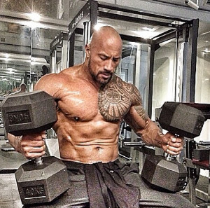The Rock's abs are hard as rocks. Pun intended.