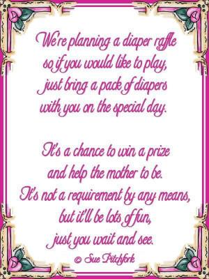 Poem: diaper raffle baby shower invitation (w/printable)