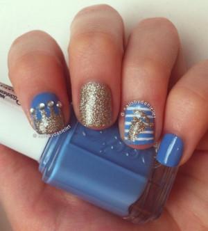 glitter rhinestones stripes pointy nails