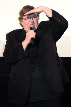 Michael Moore Director Michael Moore attends a stage greeting before ...