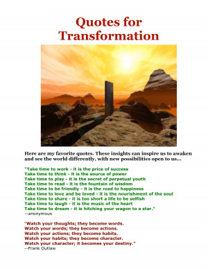 QUOTES FOR TRANSFORMATION