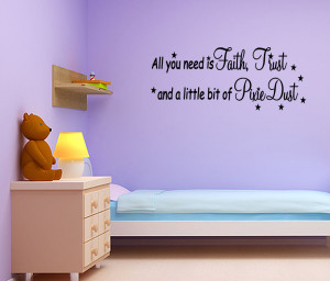 ... Trust Pixie Dust Tinkerbell Vinyl Wall Quote Decal Home Decor Sticker