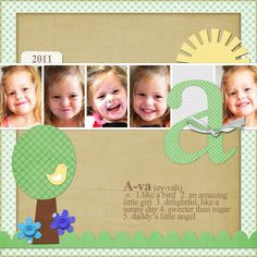 ... love the photo filmstrip, big letter and cute meaning of her name More