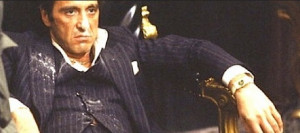 ... Tony Montana as he defends his home from intruders in the motion