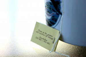 Happiness is a quote on the end of my tea bag. . .