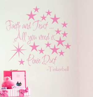 ... PIXIE DUST Tinkerbell Quote with Stars and Magic Wand vinyl wall decal