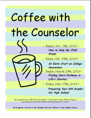 anyway back to school counseling and coffee with the counselor
