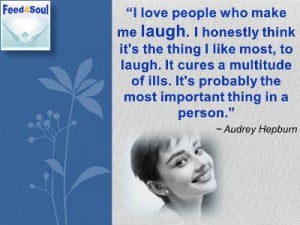 Audrey Hepburn quotes on laughter: