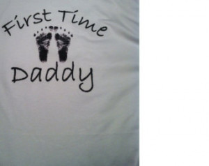 FIRST TIME Daddy with footprints t-shirt for MEN New Dad / new baby ...