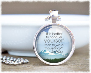 Conquer Yourself Quote Jewelry - Inspirational Jewelry - Buddha Quote ...