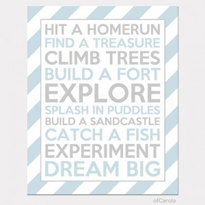 Hit A Homerun Text Quote Personalized BOYS Nursery by ofCarola, $15.00