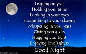 Romantic good night message poem to boyfriend from girlfriend