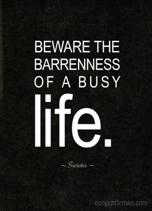 Quotes about life by Socrates- Beware the barrenness of a busy life ...