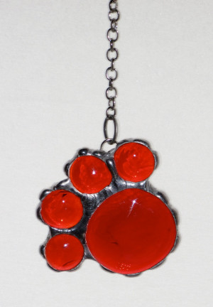 - Deep Red Transparent Glass Nugget Paw Print, Dog Paw, Cat Paw ...