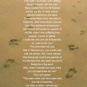 Footprints in the sand. i love this... he has carried me many times :)