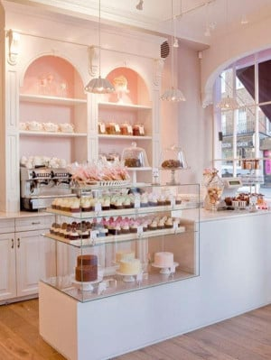 Pink bakery interior. Normally I don't like the color pink but this is ...