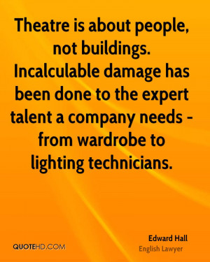 is about people, not buildings. Incalculable damage has been done ...