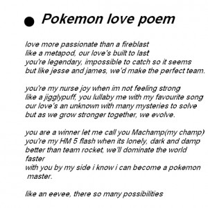 Pokemon love poem an pokemon love quotes.