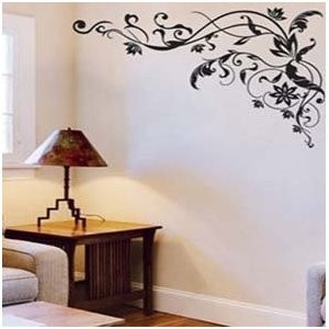 ... Black Flower Vine Tree Vine Branch Removable Wall Decor Decal Stickers