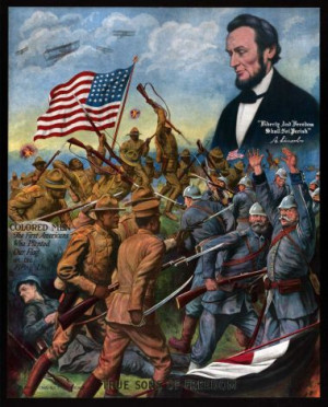 World War I American propaganda poster showing African American ...