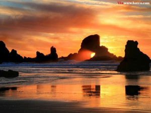 Beach Beautiful and Romantic Sunset Awesome Photo