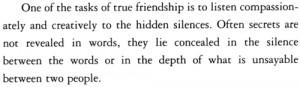 silence secrets Friendship anam cara John O'Donohue
