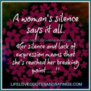 woman's silence says it all. Her silence & lack of expression ...