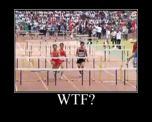 Funny track and field hurdles