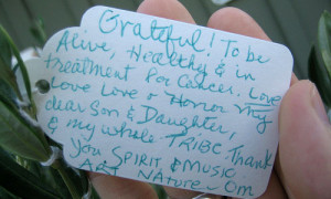 Grateful to be alive, healthy, and in treatment for cancer