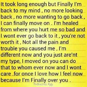 Im finally over you