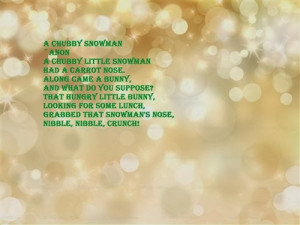 Chubby Snowman ~Anon A Chubby Little Snowman Had A Carrot Nose ...