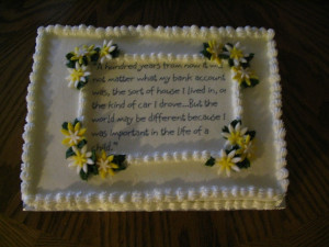 school to do a small cake for a reception at school for our principal ...
