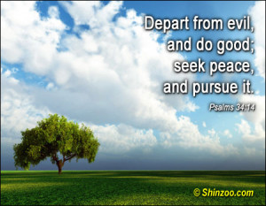 Depart from evil, and do good; seek peace, and pursue it.""