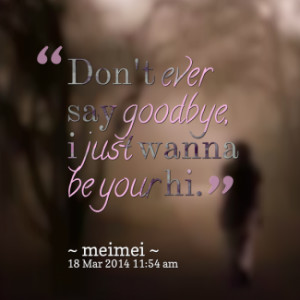 thumbnail of quotes *Don\'t ever *say goodbye, *i just *wanna be your ...
