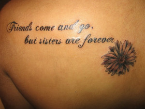 Sisters Quote And Daisy Flower Tattoo On Back