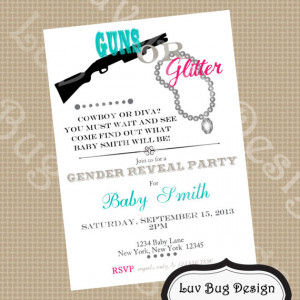 Guns or Glitter Gender Reveal Pary Invitation Printable invite by Luv ...